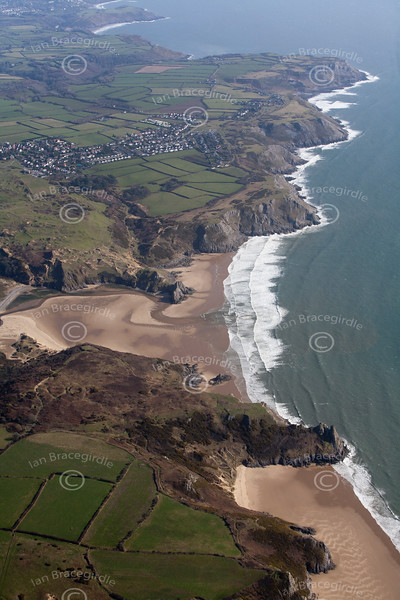 Aerial photo of the North Devon coast.