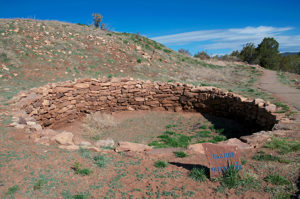 Teepees were build up around this type of foundation...  Over 2000 Pueblo Indians lived in this area.