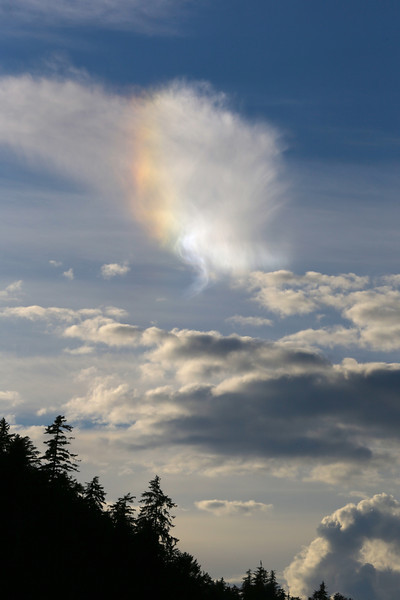 """A """"sun dog"""" caused by sunlight striking ice crystals in high cirrus clouds"""