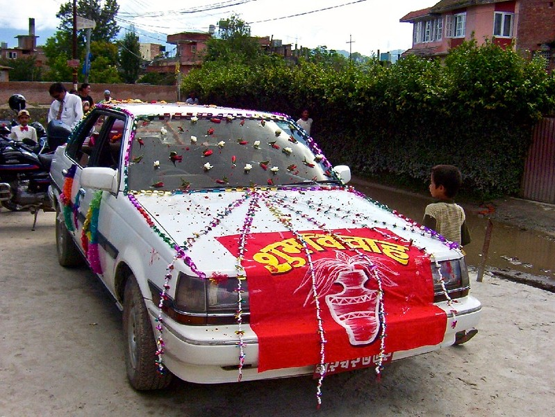 car decorated for wedding in Kathmandu, Nepal