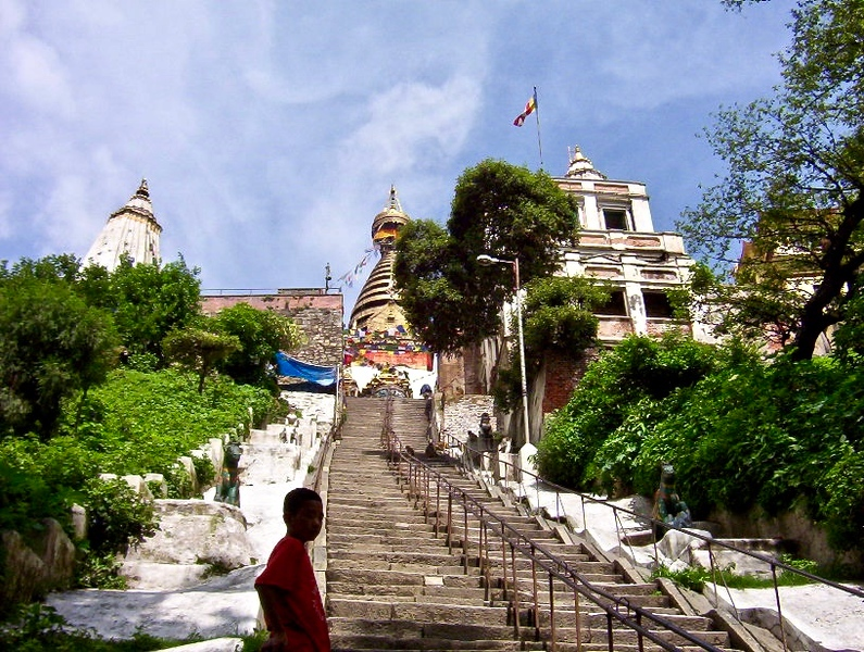 "Swayambhunath, the ""monkey temple"" in Kathmandu, Nepal"