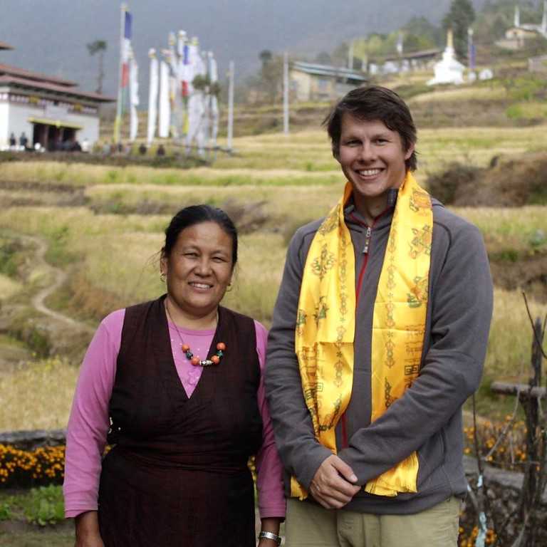 Beau Miller, executive director of Aythos, with Dolma Lama, who was killed during the Nepal earthquake.