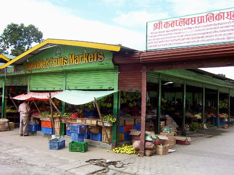 vegetable and fruit market in Pokhara, Nepal
