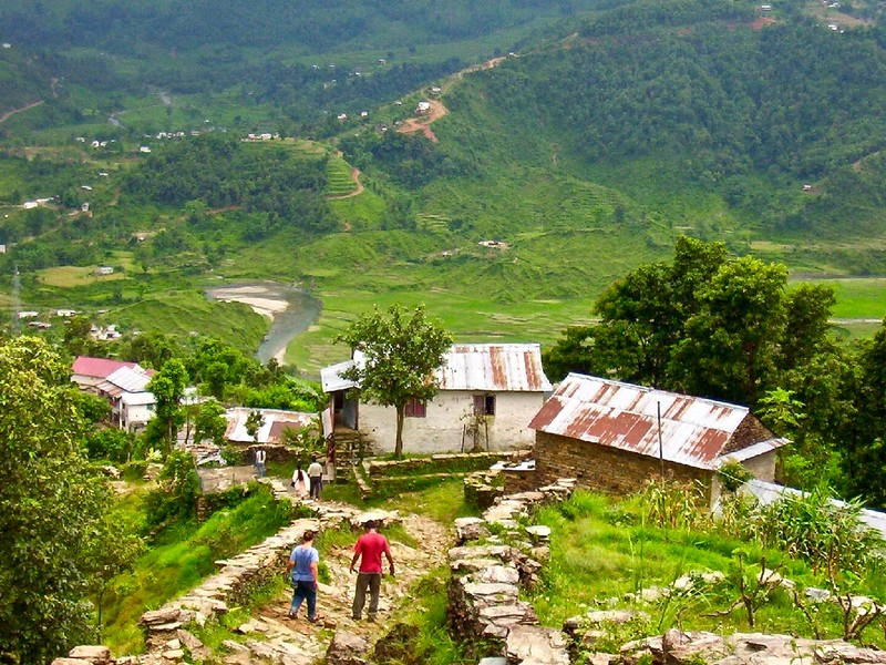 hiking down from the World Peace Pagoda in Pokhara, Nepal