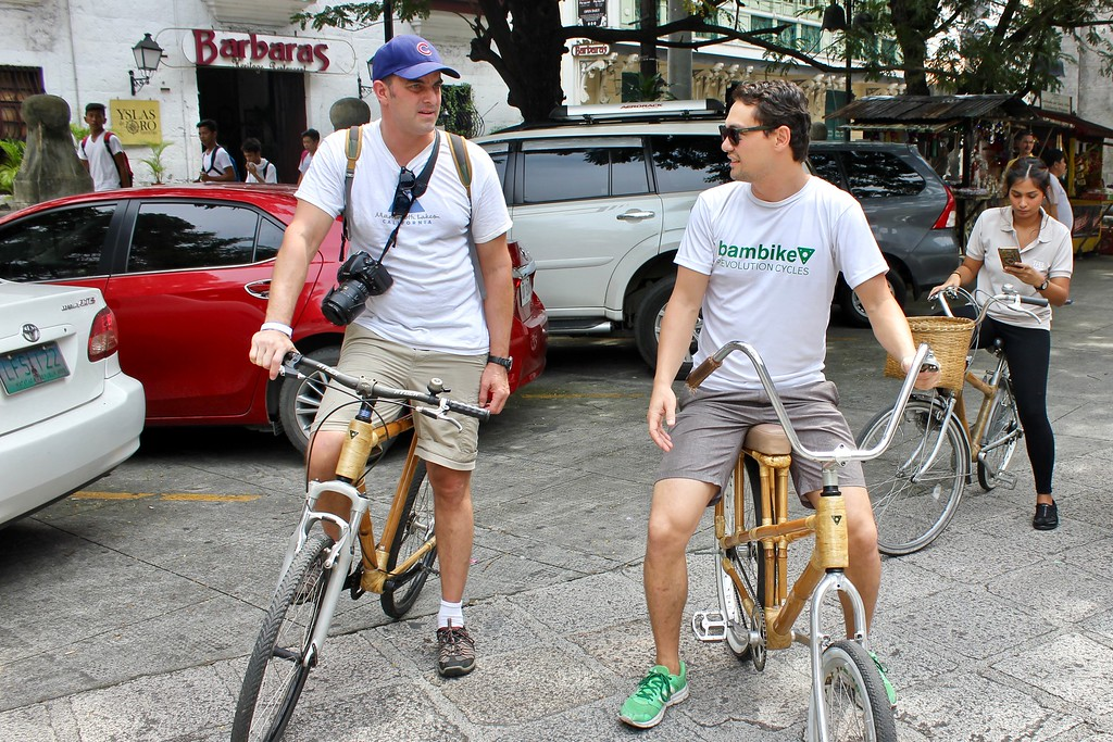 travel writer Bill Fink and Bambike founder Bryan McClelland on the Intramuros Experience tour with Bambike Ecotours