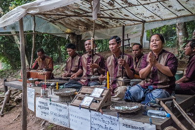 Group with traditional Khmer instruments at Angkor Wat