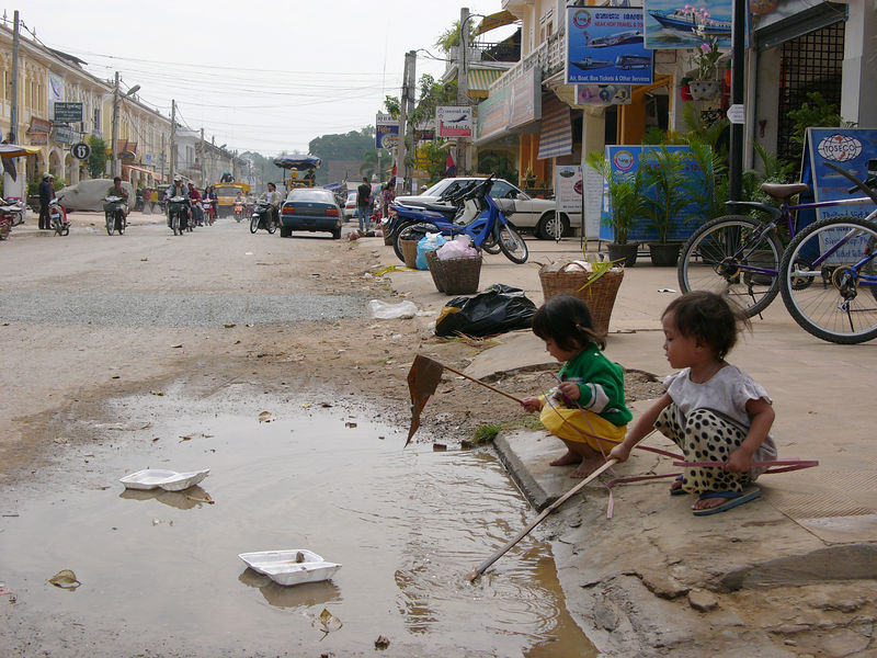 Children playing at the street