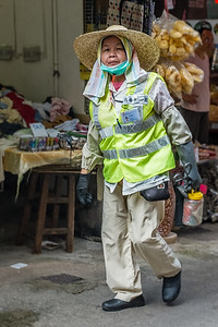Lady at a day market in Hong Kong