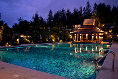 The spa pool at night - place of sanctuary from children 16 and under