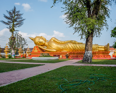 Reclining Budda in the Pha That Luang Temple, Vientiene, Laos