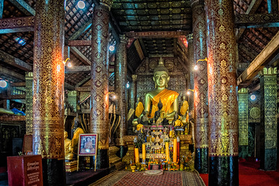 Interior of Wat Visoun in Luang Prabang, Laos