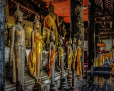 Carved Figures in Wat Visoun, 1520, the oldest remaining temple in Luang Prabang, Laos