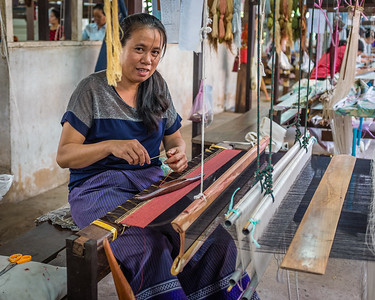 Silk weaving at the Carol Cassidy shop in Vientiene, Laos