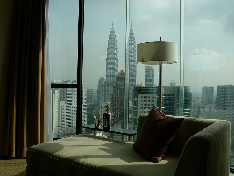 Twin Tower view in the hotel room