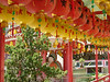 red and yellows lanterns with blessings and wishes in Kek Lok Si Temple