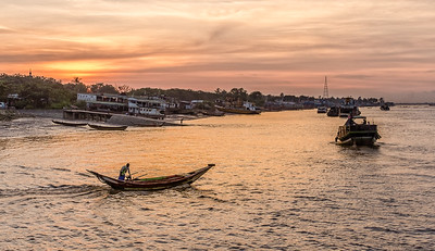 Sunset on the Mekong River, Yangon, Myanmar