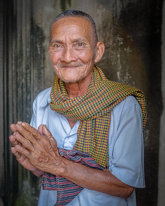 Angkor Wat, Siem Reap, Cambodia, a man offers his blessing