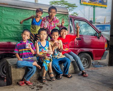 Boys pose in Yangon, Burma (Myanmar)