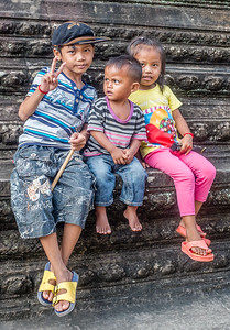 Children at Angkor Wat, Siem Reap, Cambodia