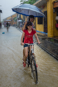 Flooded streets during the monsoons in Hoi An, Viet Nam