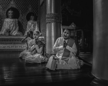 In Yangon, Myanmar, female nuns at the Schwedigan Pagoda