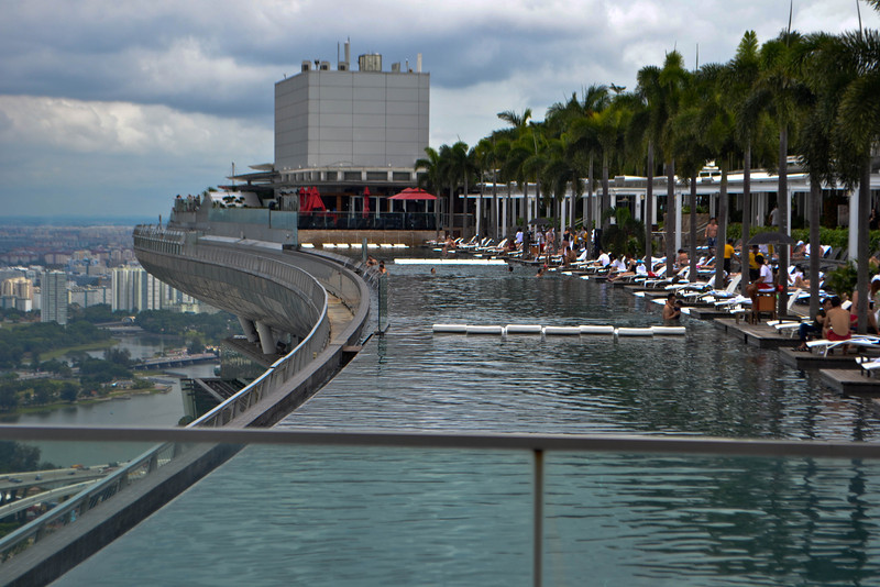 The world's highest infinity pool on the 57th floor of Marina Bay Sands Hotel