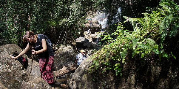 Sarah trekking in Sinharaja rainforest