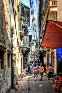 Typical street in Hanoi, Viet Nam