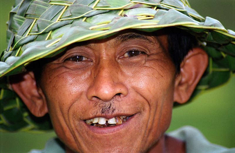 Man in Banana-leaf Hat, Bali