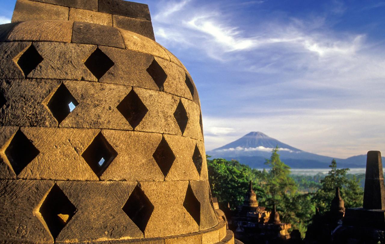 Volcano and Stupa, Borobudur Temple