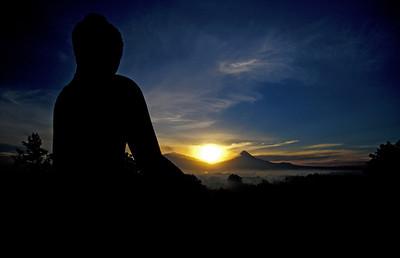 Buddha Statue and Volcano, Borobudur