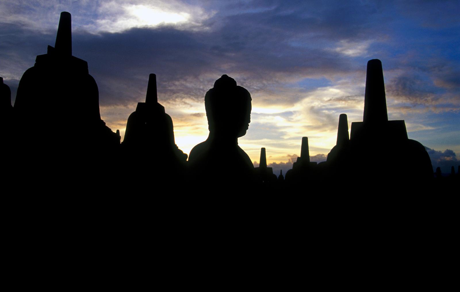 Stupas and Buddha Statue, Borobudur