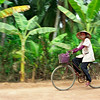 Cyclist in Vietnamese Countryside