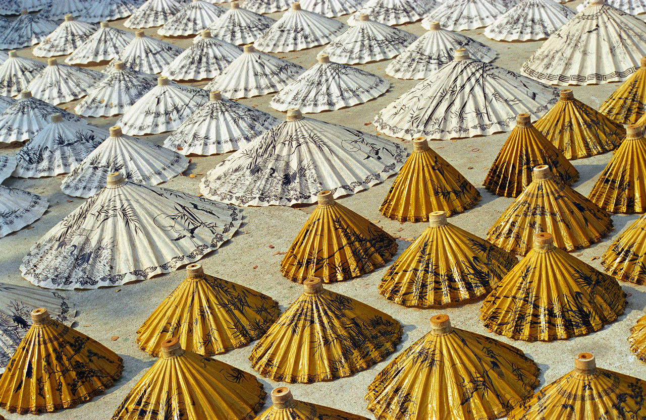 Yellow and White Thai Saa-Paper Umbrellas