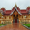 Front view of beautiful building on the Pha That Luang Stupa and Temple complex in Vientiane, Laos