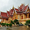 Side view of large beautiful building in Pha That Luang Temple complex, Vientiane, Laos