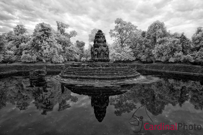 Neak Pean is a Khmer Theravada Buddhist water temple featuring shrines to the four elements, earth, air, fire and water that are used to this day by those who are wishing for better health or to be cured of disease. Angkor Temple Complex, Siem Reap, Cambodia Infrared