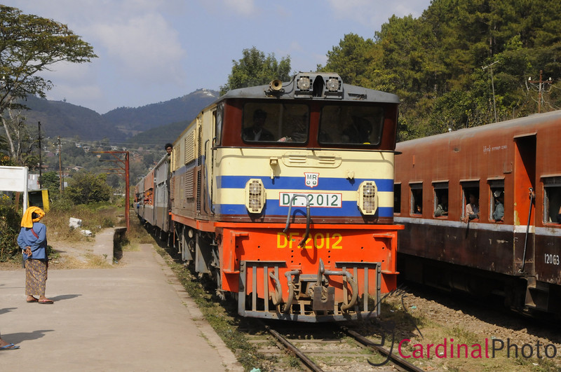 Old Diesel Locomotive Engine pulling the tran from Yangon to Kalaw, Shan State near Heho, Myanmar, Burma, Southeast Asia