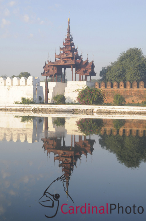 Old Royal Palace across Moat with Wall and Towers in Mandalay, Burma, Myanmar, Southeast Asia