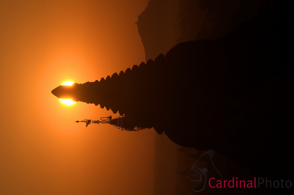 Buddhist Temple and spire silhouetted in the sunrise over Bagan, Plain of Temples, Myanmar (Burma), Southeast Asia