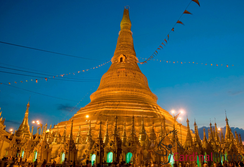 Shwedagon just after sunset with the lights turning on in Yangon with the golden dome showing, Myanmar (Burma), Southeast Asia
