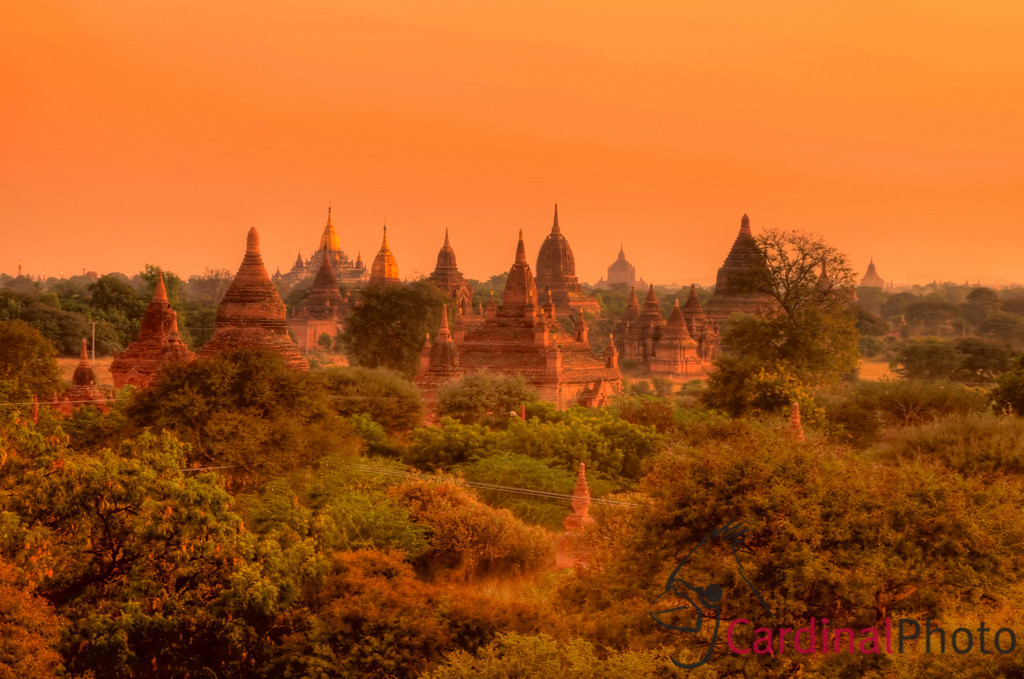 Sunrise Vista from the top of an abandoned monastery showing the orange pink sky in Bagan, also called the Plain of Temples, Myanmar (Burma), Southeast Asia