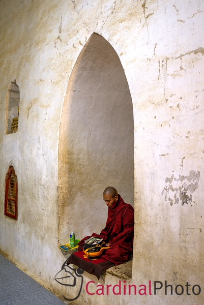 Traveling monk meditating at Ananda Temple Bagan, Myanmar