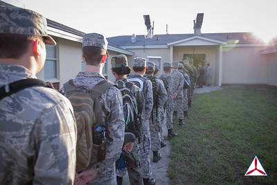 Cadets in line for the first meal of the day.  (Senior Member Morgan)