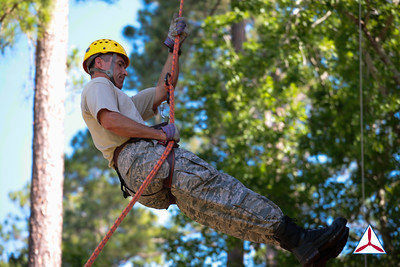 Encampment's 50-foot repelling tower gives cadets and staff alike an opportunity conquer fear and challenge themselves.  Photo Credit: SM Robbie Morgan, GA160