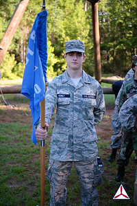 Bravo Flight Guidon Bearer stands at parade rest.  Photo Credit: SM Robbie Morgan, GA160