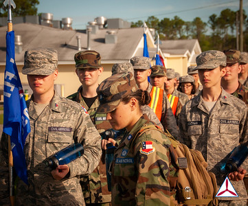 Cadets from SQDN 4 march to the obstacle course.  Photo Credit: C/2dLt Jacob Hoernlein, MAR-NC300