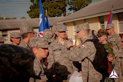 C/CMSgt Dixon Hall motivates cadets from SQDN 4.  Photo Credit: C/2dLt Jacob Hoernlein, MAR-NC300