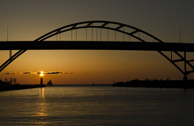 Sunrise Lake Michigan. Hoan Bridge, Milwaukee Wisconsin.