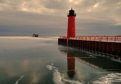 Cold morning on Lake Michigan.